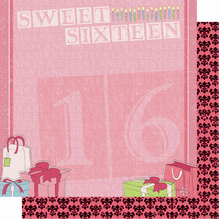 Best Creation Inc - Sixteen Candles Collection - 12 x 12 Double Sided Glitter Paper - Ribbons and Bows