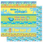 Best Creation Inc - Splash Fun Collection - 12 x 12 Double Sided Glitter Paper - Splish Splash
