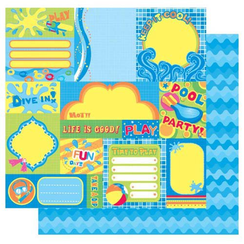Best Creation Inc - Splash Fun Collection - 12 x 12 Double Sided Glitter Paper - Fun In The Sun
