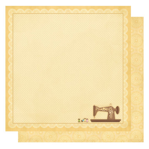 Best Creation Inc - Sew Pretty Collection - 12 x 12 Double Sided Glitter Paper - Vintage Sewing Machine