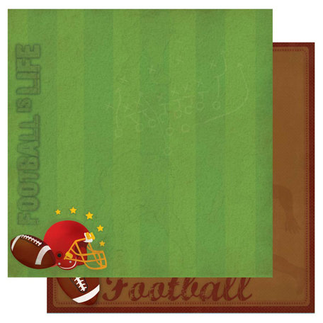 Best Creation Inc - Touchdown Collection - 12 x 12 Double Sided Glitter Paper - Football is Life