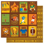 Best Creation Inc - Touchdown Collection - 12 x 12 Double Sided Glitter Paper - Tailgate Tags