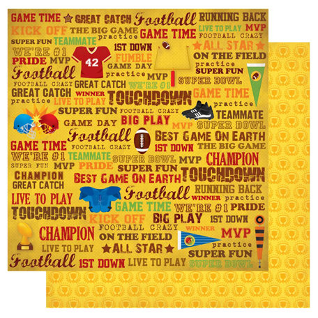 Best Creation Inc - Touchdown Collection - 12 x 12 Double Sided Glitter Paper - Game Time