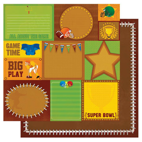 Best Creation Inc - Touchdown Collection - 12 x 12 Double Sided Glitter Paper - Super Bowl Tags