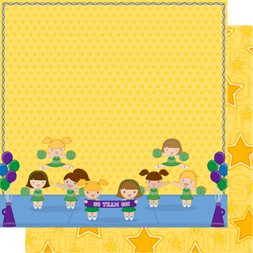 Best Creation Inc - Team Spirit Collection - 12 x 12 Double Sided Glitter Paper - All Star
