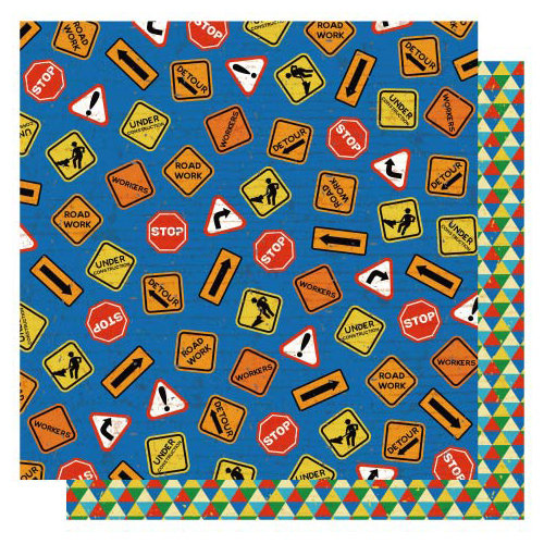 Best Creation Inc - Under Construction Collection - 12 x 12 Double Sided Glittered Paper - Caution