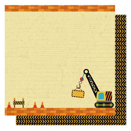 Best Creation Inc - Under Construction Collection - 12 x 12 Double Sided Glittered Paper - Road Closed