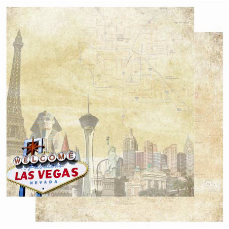 Best Creation Inc - USA Collection - 12 x 12 Double Sided Glitter Paper - Las Vegas