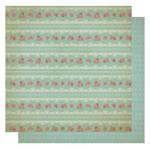 Best Creation Inc - Vintage Story Collection - 12 x 12 Double Sided Glitter Paper - Floral Stripes