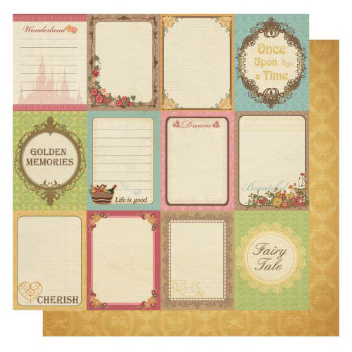 Best Creation Inc - Vintage Story Collection - 12 x 12 Double Sided Glitter Paper - Vintage Tags