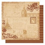 Best Creation Inc - Vintage Travel Collection - 12 x 12 Double Sided Glittered Paper - Vacation Memories