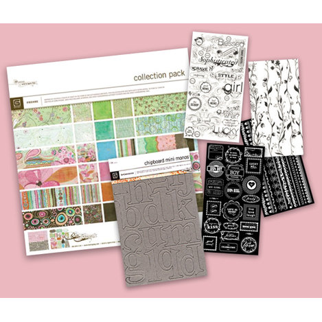 BasicGrey - Chipboard Rub Ons and Paper Kit - Phoebe, CLEARANCE