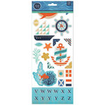 BasicGrey - Adrift Collection - Printed Chipboard Stickers - Shapes