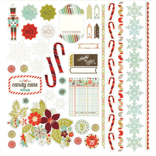 BasicGrey - Aspen Frost Collection - Christmas - 12 x 12 Element Stickers - Shapes