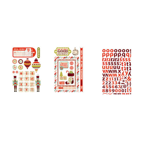 BasicGrey - Aspen Frost Collection - Christmas - Adhesive Chipboard - Shapes and Alphabets