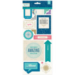 BasicGrey - Aurora Collection - Printed Chipboard Stickers - Shapes