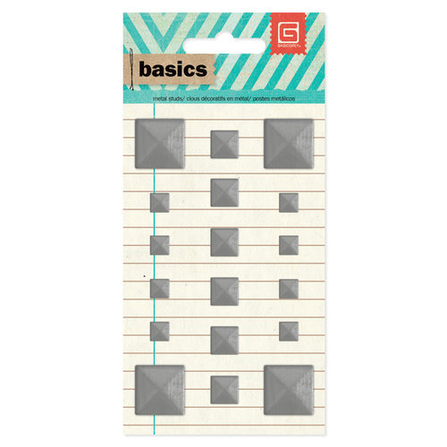 BasicGrey - Basics Collection - Metal Studs - Silver Squares