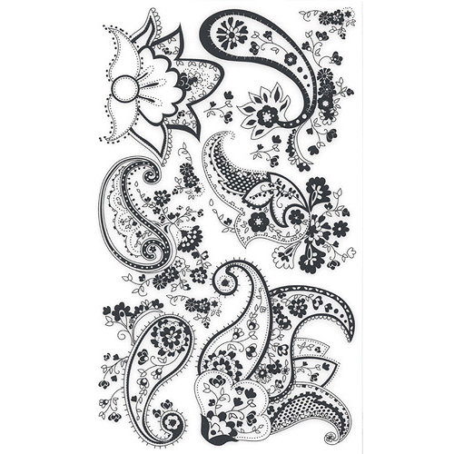 BasicGrey Element Rub Ons - Paisley - Black