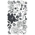 BasicGrey Element Rub Ons - Roses - Black