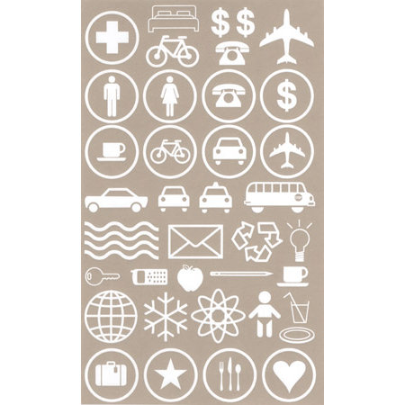 BasicGrey Element Rub Ons - Symbols - White, CLEARANCE