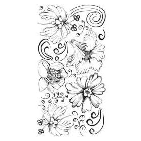 BasicGrey - Transfers - Rub Ons - Flowers - Black, CLEARANCE