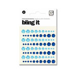 BasicGrey - Bling It Collection - Rhinestones - Individual Dots - Indigo and Sky