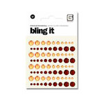 BasicGrey - Bling It Collection - Rhinestones - Individual Dots - Tangerine and Ruby