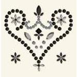 BasicGrey - Bling It Collection - Rhinestones - Designer Royal Heart - Black, CLEARANCE