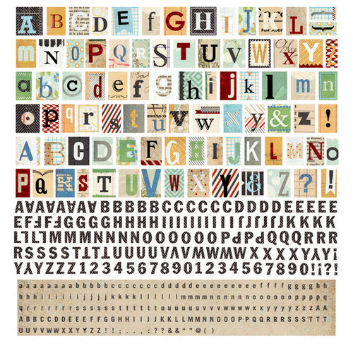 BasicGrey - Clippings Collection - 12 x 12 Alphabet Stickers