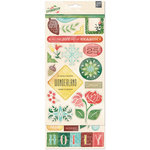 BasicGrey - Evergreen Collection - Christmas - Printed Chipboard Stickers - Shapes