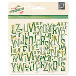 BasicGrey - Evergreen Collection - Christmas - Printed Chipboard Stickers - Alphabet