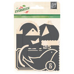 BasicGrey - Evergreen Collection - Christmas - Chalkboard Wood Die Cut Pieces - Tags