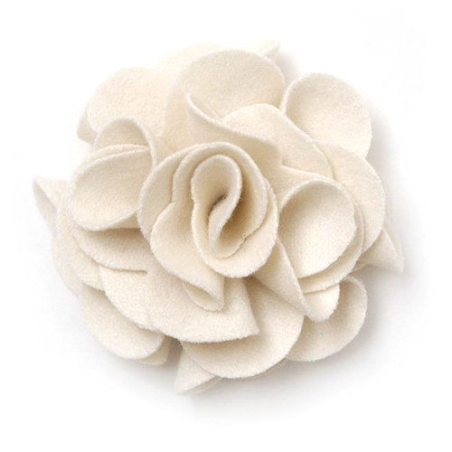 BasicGrey - Notions Collection - Wool Felt Flowers - Polished Blossom - Linen