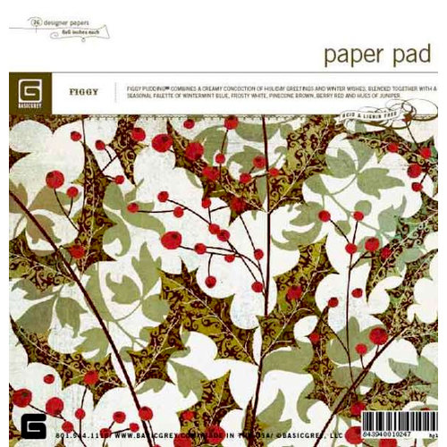 BasicGrey - Figgy Pudding Collection - 6x6 Paper Pads - Figgy Pudding , BRAND NEW