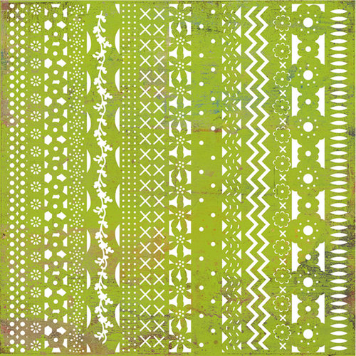 BasicGrey - Green at Heart Collection - Doilies - 12 x 12 Die Cut Paper - Ribbon, CLEARANCE