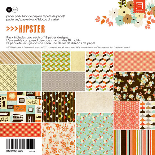 BasicGrey - Hipster Collection - 6 x 6 Paper Pad