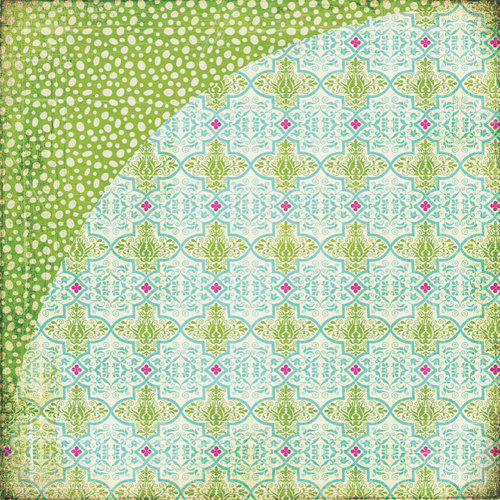 BasicGrey - Indie Bloom Collection - 12 x 12 Double Sided Paper - Turquoise