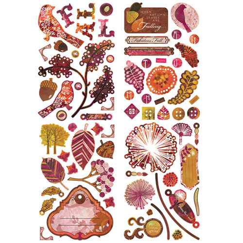 BasicGrey - Indian Summer Collection - Adhesive Chipboard - Shapes