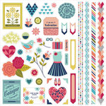 BasicGrey - J'Adore Collection - 12 x 12 Cardstock Stickers - Elements