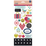 BasicGrey - J'Adore Collection - Printed Chipboard Stickers - Shapes and Alphabets