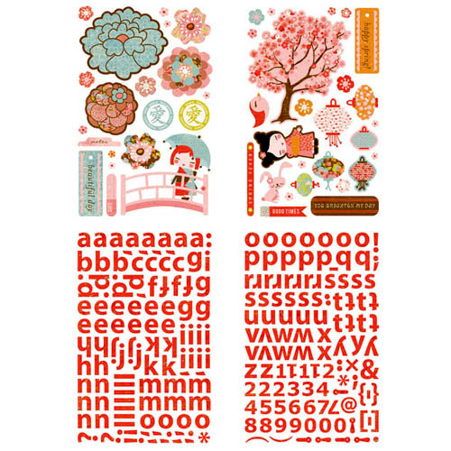 BasicGrey - Konnichiwa Collection - Adhesive Chipboard - Shapes and Alphabets