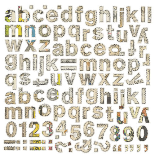 BasicGrey - Lucille Collection - 12 x 12 Alphabet Stickers