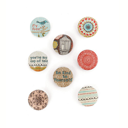 BasicGrey - Paper Cottage Collection - Flair - 8 Adhesive Badges