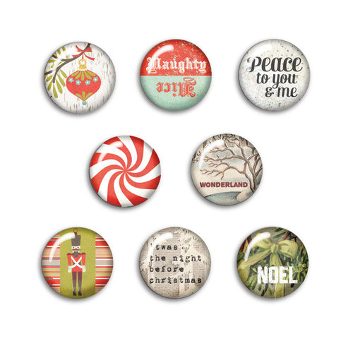 BasicGrey - Aspen Frost Collection - Christmas - Flair - 8 Adhesive Badges