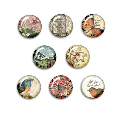 BasicGrey - Serenade Collection - Flair - 8 Adhesive Badges