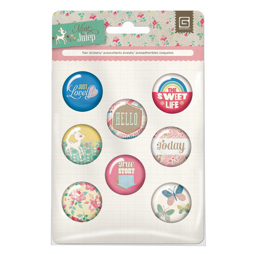 BasicGrey - Mint Julep Collection - Flair - 8 Adhesive Badges