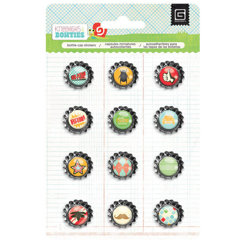 BasicGrey - Knee Highs and Bow Ties Collection - Bottle Cap Stickers - Bow Ties
