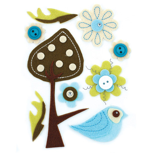 BasicGrey - Marjolaine Collection - Woolies - 3 Dimensional Felt Stickers