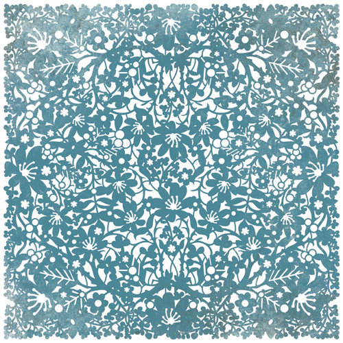 BasicGrey - Marjolaine Collection - Doilies - 12 x 12 Die Cut Paper - Cerulean