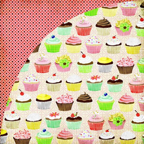 BasicGrey - Nook and Pantry Collection - 12 x 12 Double Sided Paper - Cupcakes